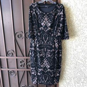 Black patterned long sleeve dress
